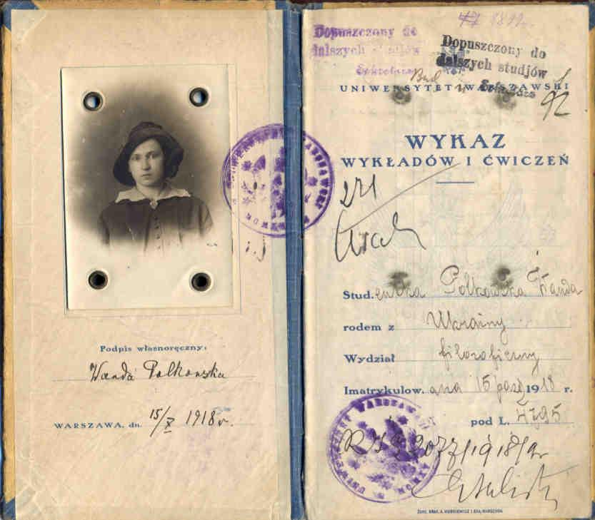 Wanda Polkowska Indeks Uniwersytetu Warszawskiego