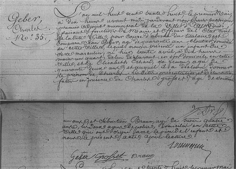 Poszukiwania przodków w Alzacji - akt urodzenia Charles Geber z 1838 roku