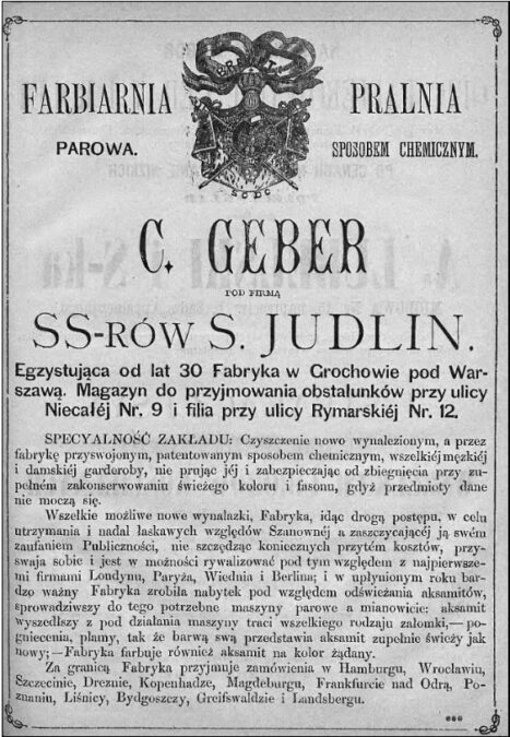 Reklama w firmy c. Geber w Kalendarzu Warszawskim Popularno-Naukowy na rok 1880 Józefa Ungra