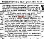 Wspomnienie o ks. Ludwiku Ollendrze w Kurierze Lwowskim z 1916 roku