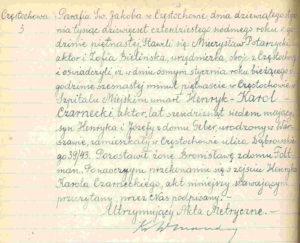 Akt zgonu Henryka Karola Czarneckiego
