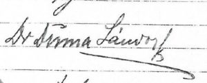 Podpis Sandora Duma na akcie notarialnym z Archiwum w Budapeszcie
