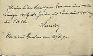 Podpis Sandora Duma na fotografii zachowanej w domowym archiwum