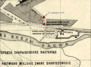 Fragment planu Warszawy z 1879 roku Kamionek ul. Lubelska