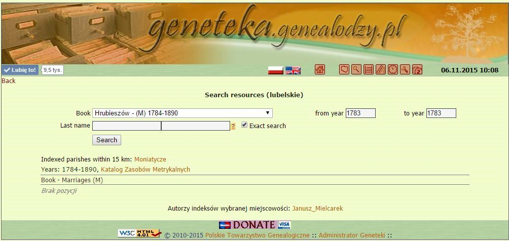 he brief history of Geneteka - in memory of Janusz Mielcarek