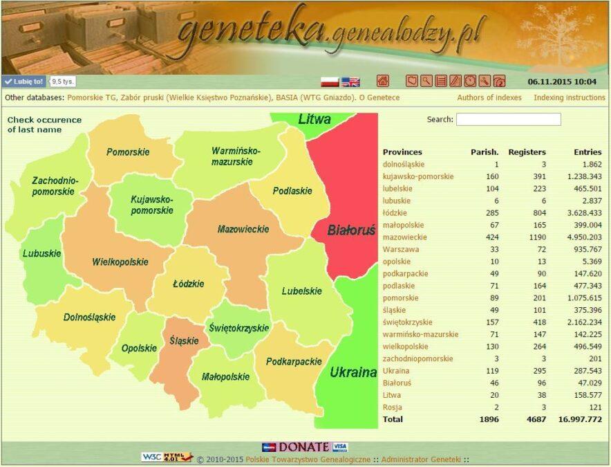 the brief history of Geneteka - main screen