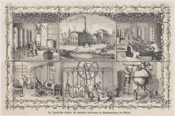 Rycina Judlinowska pralnia chemiczna w Charlottenburgu pod Berlinem ok 1870 rok