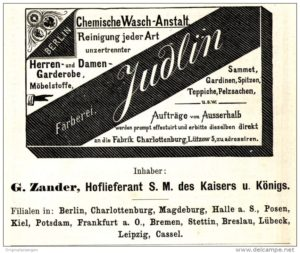 Pralnie chemiczne - reklama farbiarni Judlina w Berlinie 1886 rok.