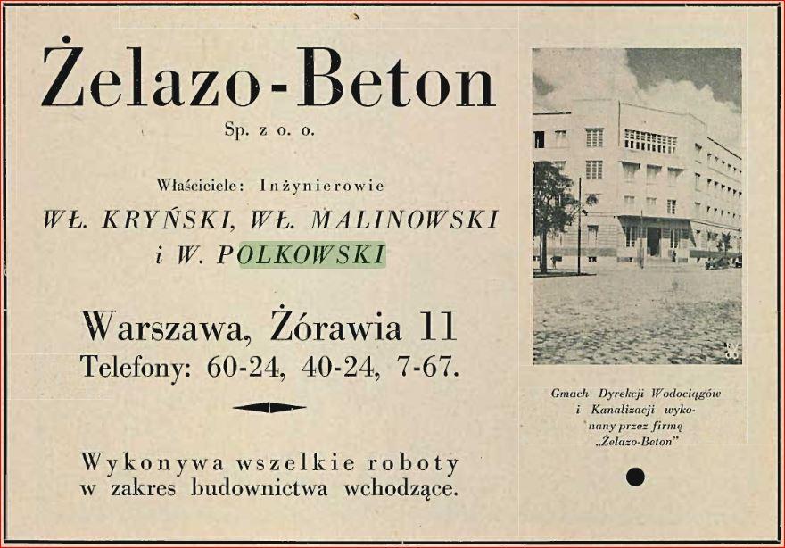 Żelazo-Beton reklama Przegląd Budowlany 1930