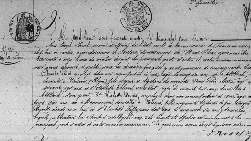 Tajemnica przodków - akt zapowiedzi Charles Gebar i Elisabeth Steyertt