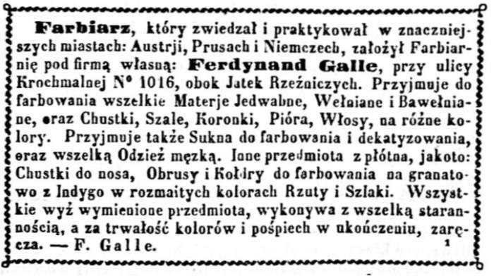 34bc1038bb3cf Przed przybyciem Gebera i Judlina do Warszawy, farbiarze nie informowali,  że zajmują się praniem chemicznym. Kurjer Warszawski R38 nr 46 – dod.