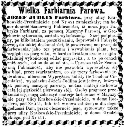 Józef Judlin Ogłoszenie 1862 grudzień