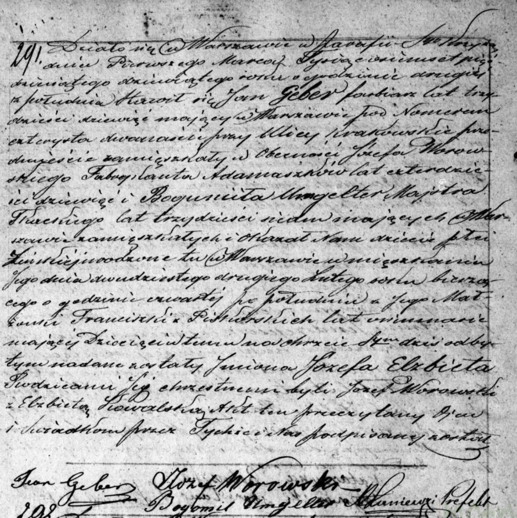 Józefa Elżbieta Geber Akt urodzenia 1859