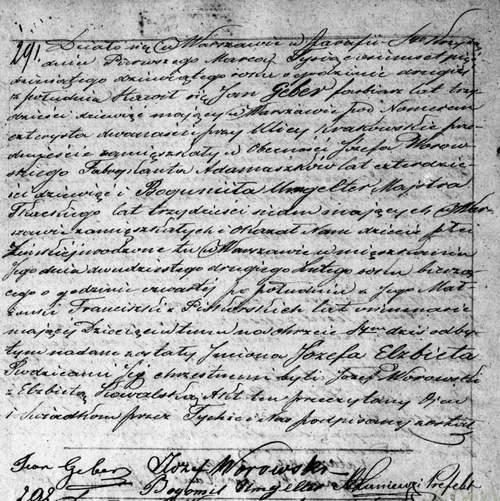 Józefa Elżbieta Geber Akt urodzenia 1859 OW