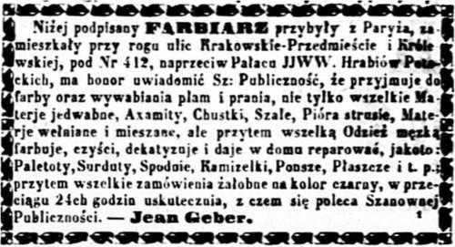 Jean Geber (1826-1902) Ogłoszenie 1858 pażdziernik OW