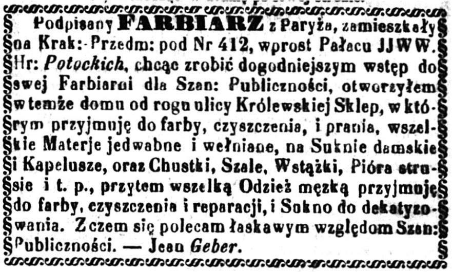 Jean Geber (1826-1902) Ogłoszenie 1859 luty
