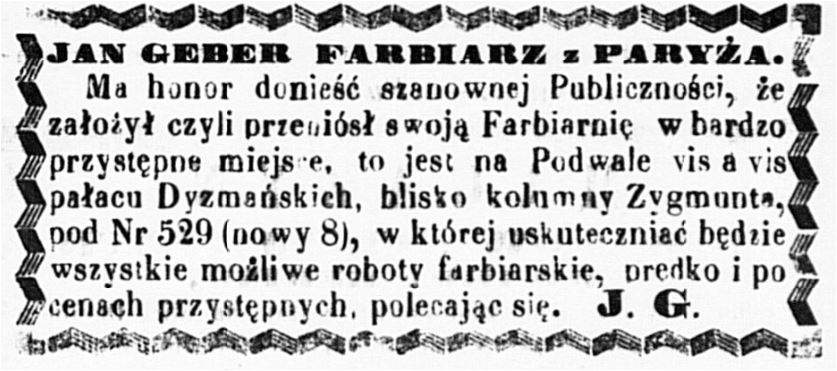 Jean Geber (1826-1902) Ogłoszenie 1861 lipiec