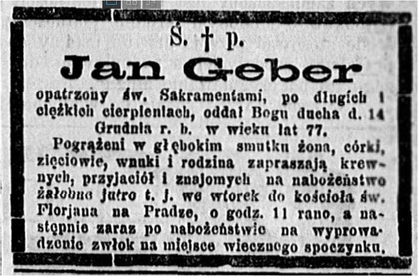 Jean Geber 1826-1902 nekrolog