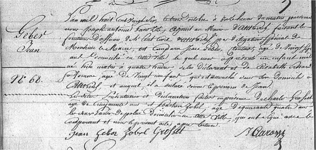 Jean Geber akt urodzenia 1826