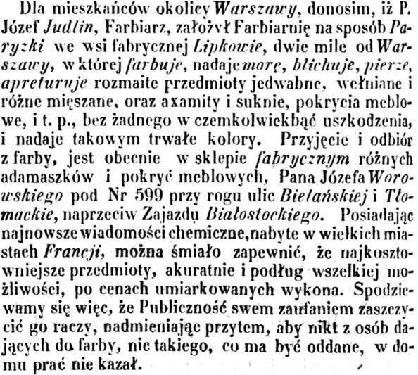 Joseph Antoine Judlin artykuł w prasie 1856 wrzesień