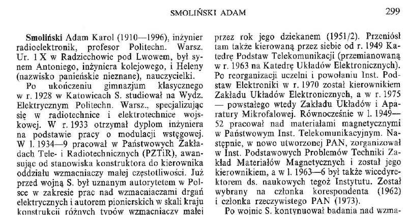 Polski Słownik Biograficzny a genealogia Smoliński