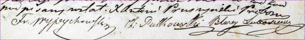 Drzewo genealogiczne rodziny Krzywda-Polkowski podpisy