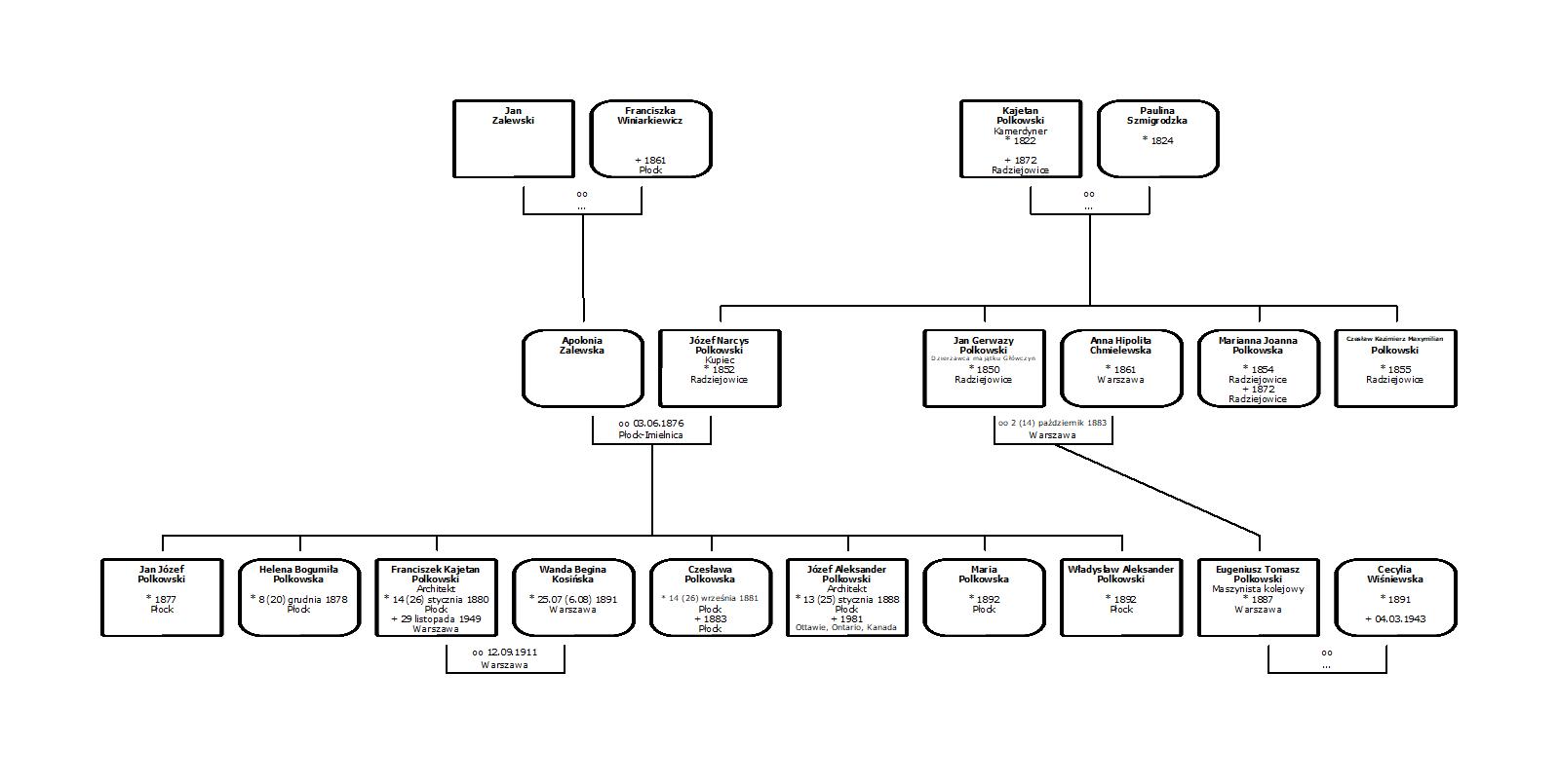 Drzewo genealogiczne rodziny Krzywda-Polkowski