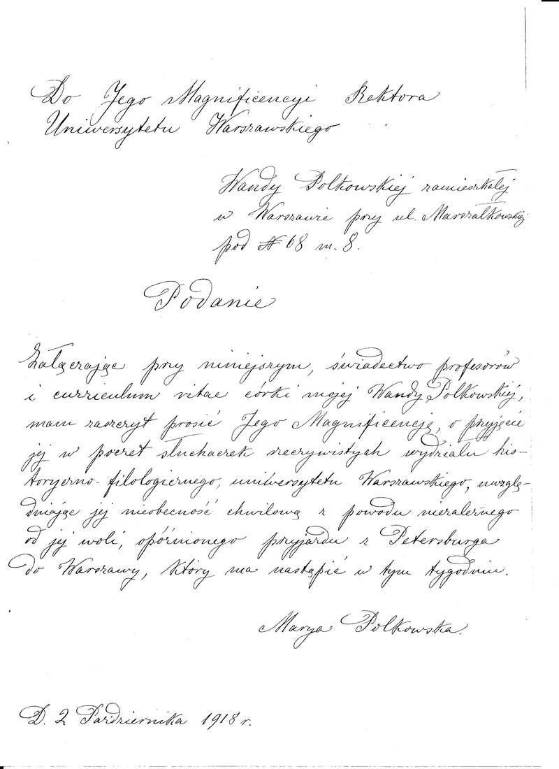 Wanda Polkowska-Markowska podanie o przyjęcie na UW