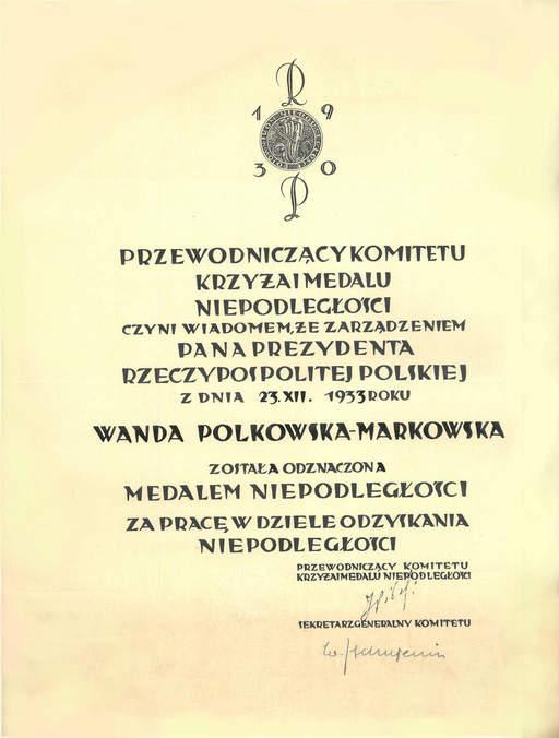Wanda Polkowska dyplom medal niepodległości ow