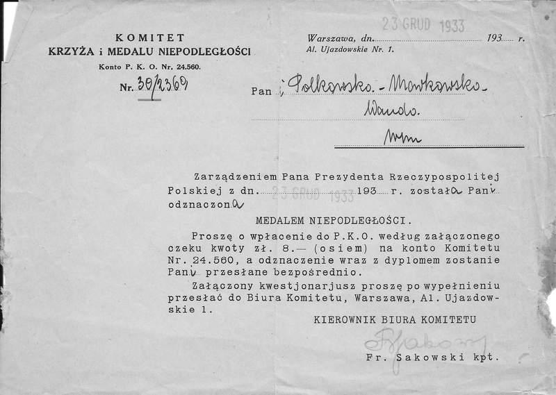 Wanda Polkowska-Markowska zawiadomienie o nadaniu Medalu Niepodległości
