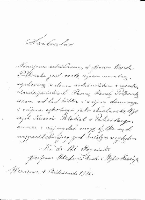 Świadectwo Ks. Aleksander Woycicki Wanda Polkowska