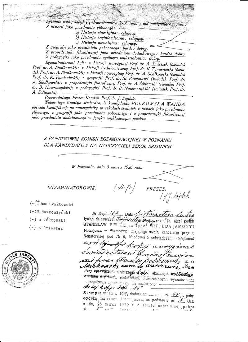 Świadectwo Państwowej Komisji Egzaminacyjnej w Poznaniu str 2 Wanda Polkowska