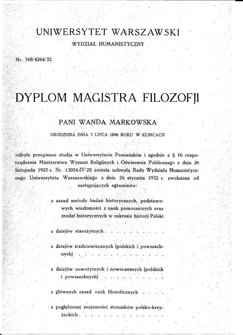 Dyplom Magistra Filozofii UW Wanda Polkowska str 1