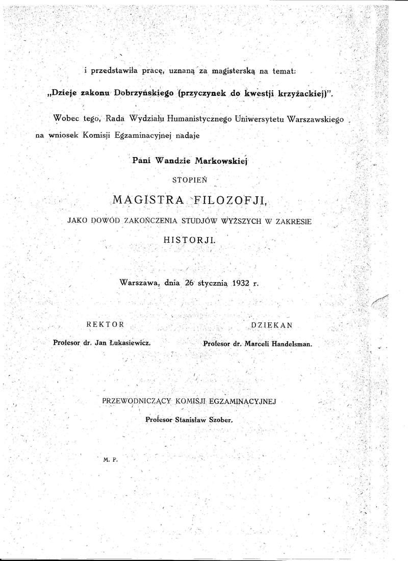 Dyplom Magistra Filozofii UW Wanda Polkowska str 2