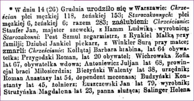 Dziennik Warszawski 297 część 1 Zaślubieni, zmarli w Warszawie grudzień 1864