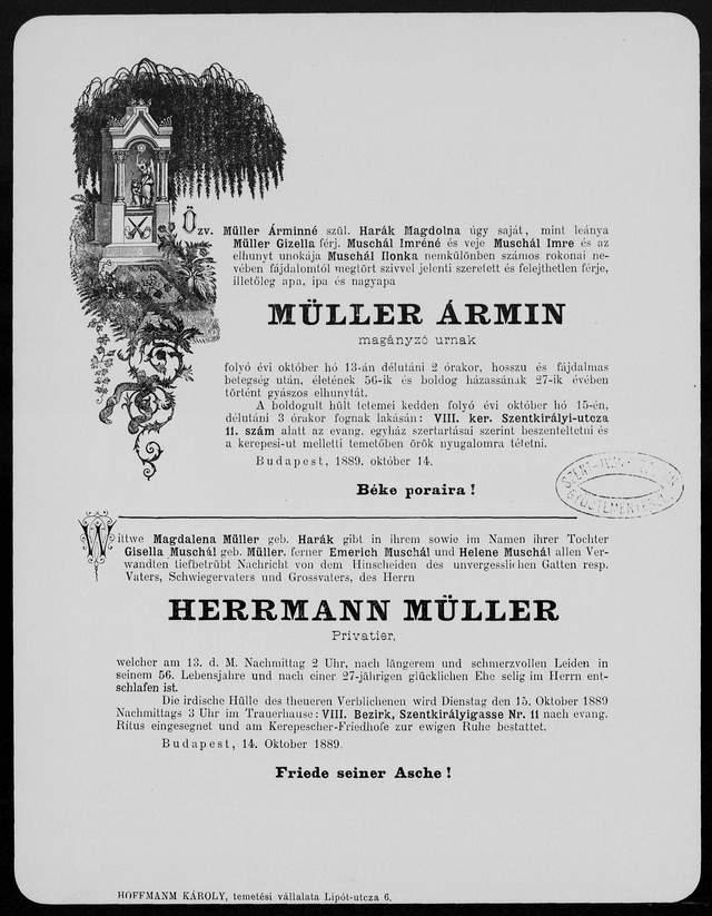 Nekrologi węgierskie z lat 1840-1990 ozdobny 2