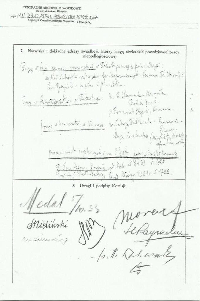 Wanda Polkowska-Markowska Wnioski o Medal Niepodległości 4