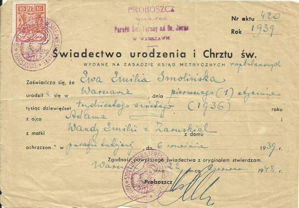 Akt chrztu Ewa Smolińska