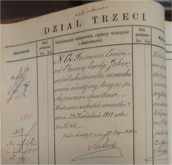 Księgi wieczyste Warszawy dział trzeci
