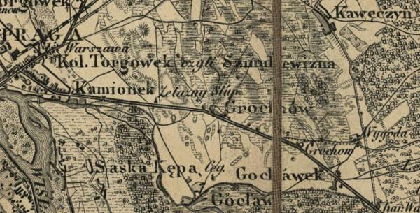 Olszynka Grochowska, bitwa i jej upamiętnienie Topograficzna Karta Królestwa Polskiego 1839