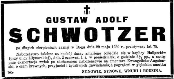 Rodzina Schwotzer ze wsi Grochów Nekrolog Gustaw Adolf