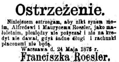 Drzewo genealogiczne rodziny Roesler Długi Alfreda i Maurycego