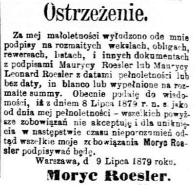 Drzewo genealogiczne rodziny Roesler Długi Moryca