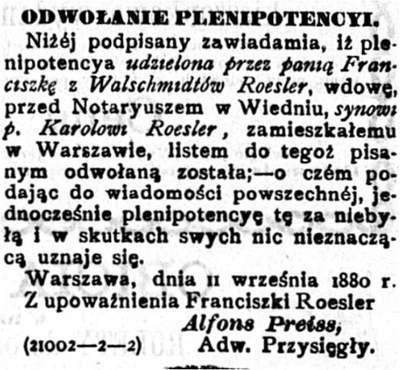 Drzewo genealogiczne rodziny Roesler odwołanie plenipotencji