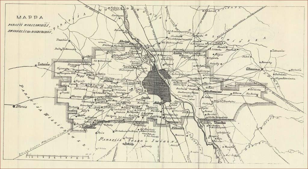 Ewangelicy warszawscy Mapa parafii