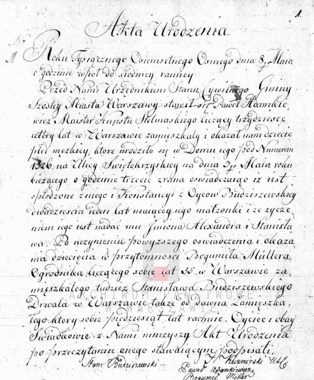 Historia XIX wieku dla historyków rodzin Akta stanu cywilnego gminy warszawskiej V cyrkułu akt urodzenia z 1808 rok