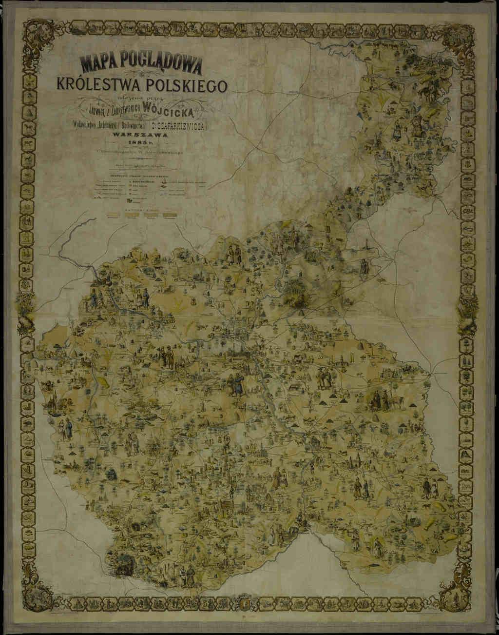 Historia XIX wieku dla historyków rodzin mapa Królestwo Polskie 1885