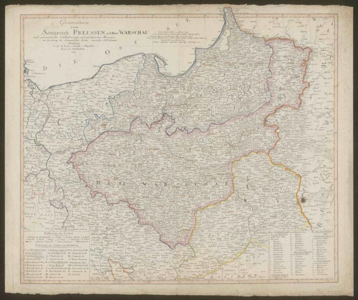 Mapa królestwa Prus i Księstwa Warszawskiego 1807