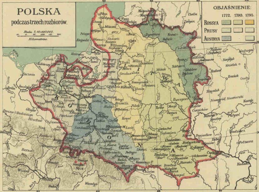 Historia XIX wieku dla historyków rodzin mapa rozbiory