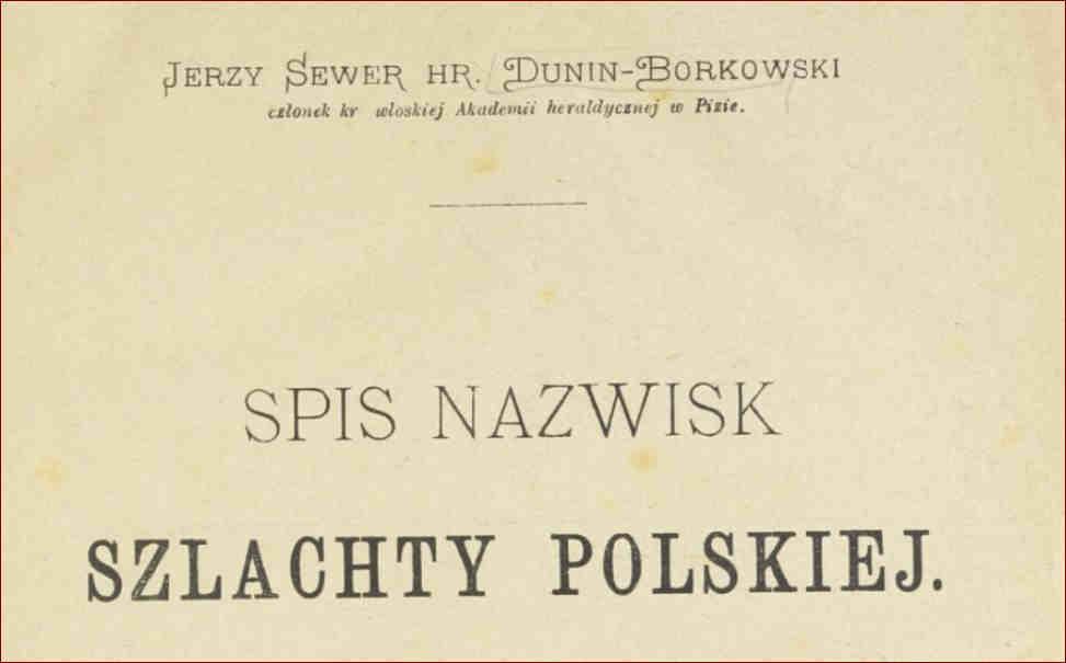 Dawne nazwiska Polskie szlacheckie